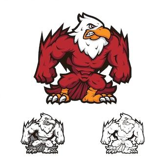 Verärgertes ganzkörper-ikarus-maskottchen-logo