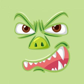 Verärgertes grünes monstergesicht