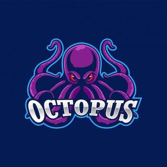 Verärgertes kraken-maskottchen-logo