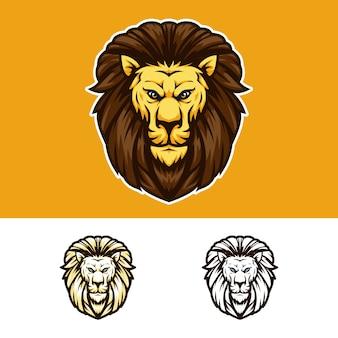 Verärgertes löwe-kopf-maskottchen-logo