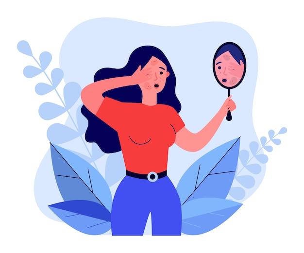 Verärgertes mädchen, das in der flachen illustration des spiegels schaut