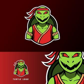 Verärgertes ninja-schildkrötenmaskottchen, sport esport logoschablone