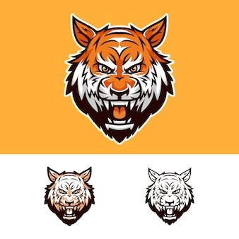 Verärgertes tiger-kopf-maskottchen-logo