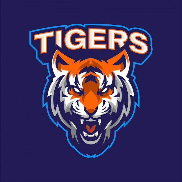 Verärgertes tiger-maskottchen-logo