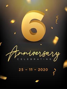 Veranstaltung zum 6-jährigen jubiläum. goldener vektor geburtstag oder hochzeitsfeier gratulation jubiläum.