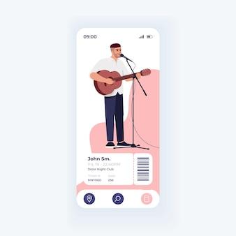 Veranstaltungstickets buchungsanwendung smartphone-schnittstelle vektorvorlage. lichtdesign-layout für mobile app-seiten. bildschirm mit konzertdetails. flache benutzeroberfläche für die anwendung. beliebter musiker auf dem telefondisplay