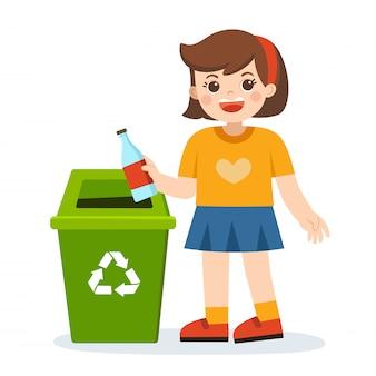 Verantwortung des jungen kleinen mädchens, das plastikflasche in papierkorb wirft. glücklicher tag der erde. rette die erde. grüner tag. ökologiekonzept.