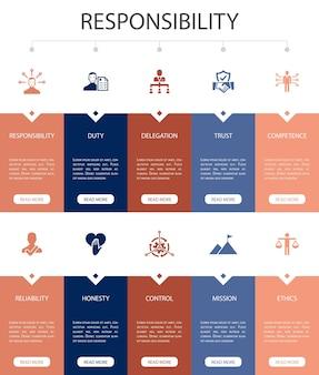 Verantwortung infografik 10 option ui-design. delegation, ehrlichkeit, zuverlässigkeit, vertrauen