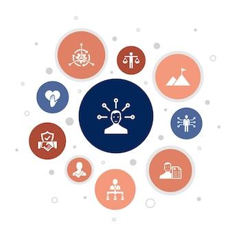 Verantwortung infografik 10 schritte bubble design.delegation, ehrlichkeit, zuverlässigkeit, vertrauen auf einfache symbole