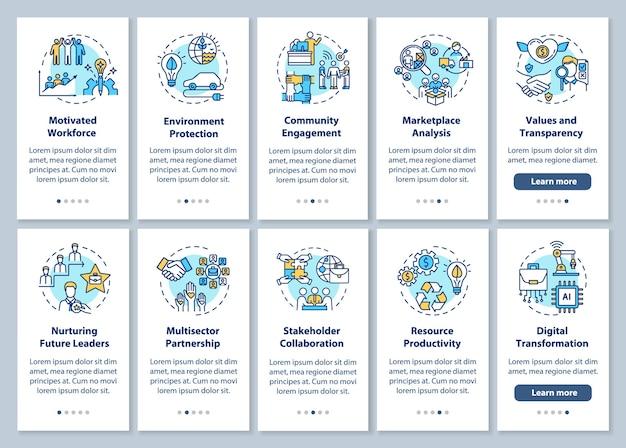 Verantwortungsbewusster produktions-onboarding-seitenbildschirm für mobile apps mit konzepten. walkthrough-schritte zur nachhaltigen entwicklung grafische anweisungen. ui-vorlage mit rgb-farbabbildungen