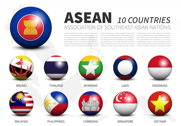 Verband der südostasiatischen nationen fahnen in dreidimensionalen sphären