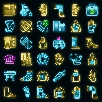 Verbandsymbole gesetzt. umrisse von verbandsvektorsymbolen neonfarbe auf schwarz