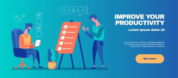 Verbesserung der produktivität horizontale banner illustration