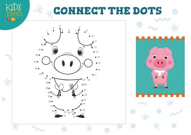 Verbinde das dots kids minispiel. vorschulkinder-bildungsaktivität mit dem verbinden von punkt zu punkt und zeichnen des lustigen cartoon-schweins mit löffel und gabel