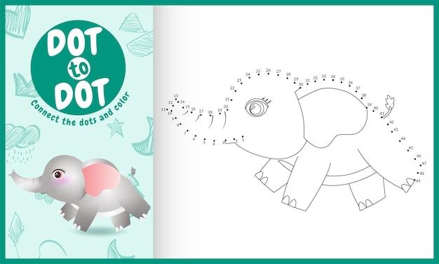 Verbinde das dots kids-spiel und die malvorlage mit einem niedlichen elefantencharakter Premium Vektoren