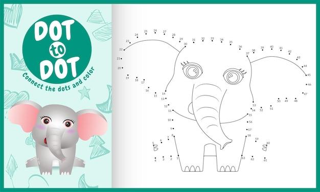 Verbinde das dots kids-spiel und die malvorlage mit einem niedlichen elefantencharakter