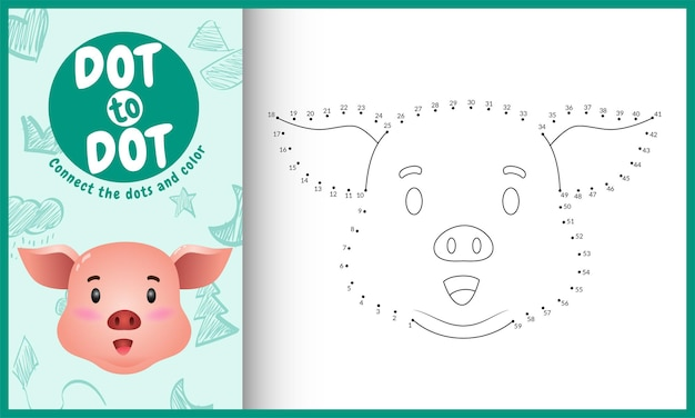 Verbinde das dots kids spiel und die malvorlage mit einem niedlichen gesicht schwein charakter