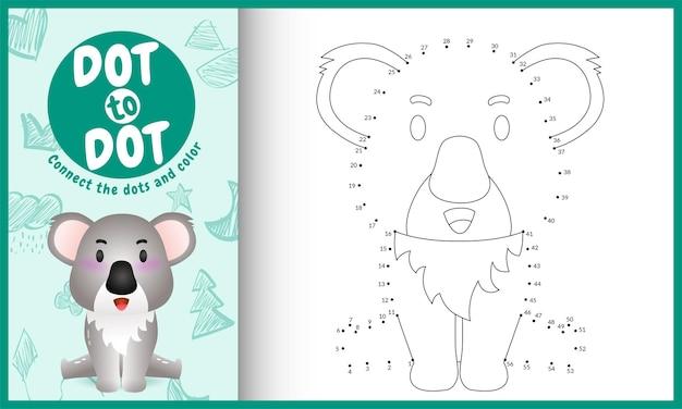 Verbinde das dots kids-spiel und die malvorlage mit einem niedlichen koala-charakter