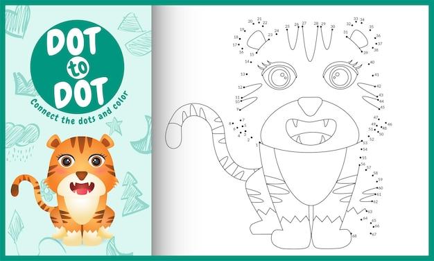 Verbinde das dots kids spiel und die malvorlage mit einem niedlichen tiger