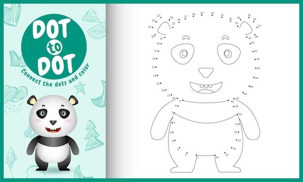 Verbinde das dots kids-spiel und die malvorlagen mit einem niedlichen panda-charakter