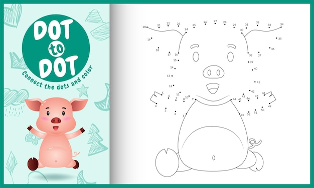 Verbinde das punktkinderspiel und die malvorlage mit einem niedlichen schwein