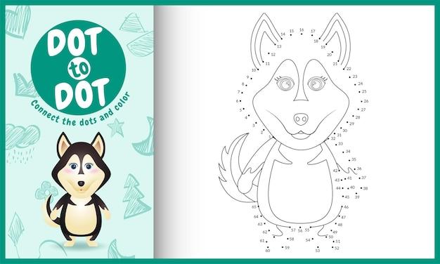 Verbinde das spiel und die malvorlagen für kinder mit einem niedlichen husky-hundecharakter