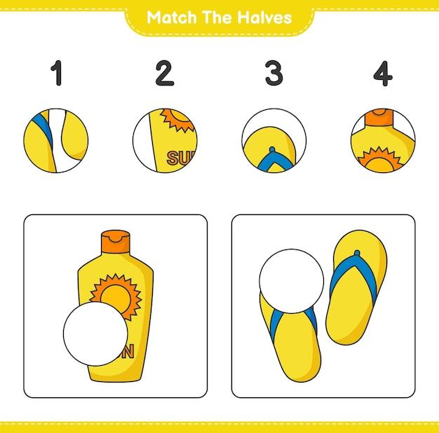 Verbinde die hälften. bringen sie die hälften von sonnencreme und flip flop zusammen. pädagogisches kinderspiel, druckbares arbeitsblatt, vektorillustration