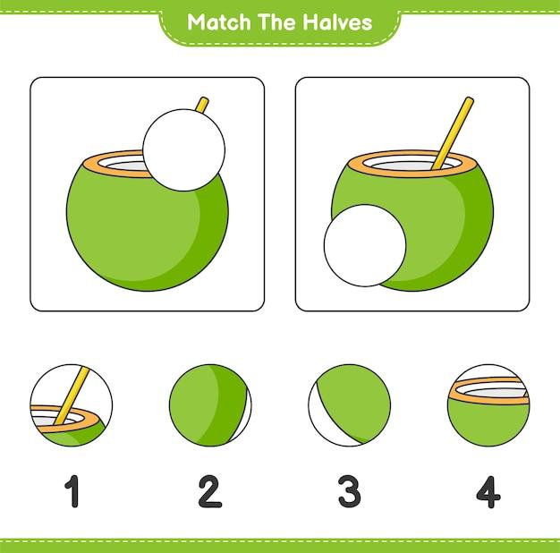 Verbinde die hälften. die hälften der kokosnuss zusammenbringen. lernspiel für kinder, arbeitsblatt zum ausdrucken