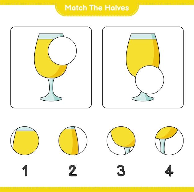Verbinde die hälften. die hälften des cocktails zusammenbringen. lernspiel für kinder, arbeitsblatt zum ausdrucken