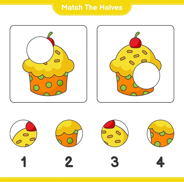 Verbinde die hälften. die hälften des cup cakes zusammenbringen. lernspiel für kinder, arbeitsblatt zum ausdrucken