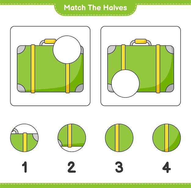 Verbinde die hälften. die hälften des gepäcks zusammenbringen. lernspiel für kinder, arbeitsblatt zum ausdrucken
