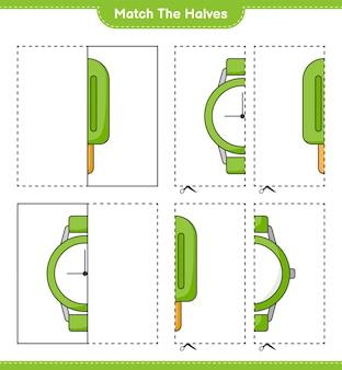 Verbinde die hälften. kombinieren sie die hälften von eiscreme und uhren. pädagogisches kinderspiel, druckbares arbeitsblatt, vektorillustration