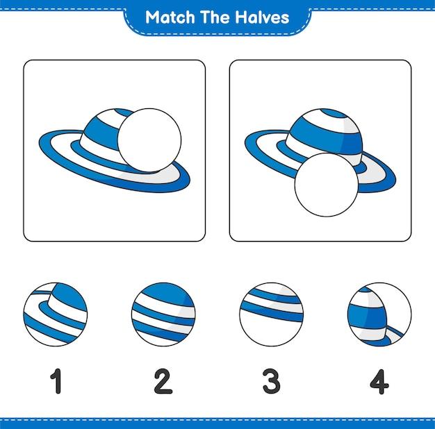 Verbinde die hälften. kombinieren sie die hälften von summer hat. lernspiel für kinder, arbeitsblatt zum ausdrucken