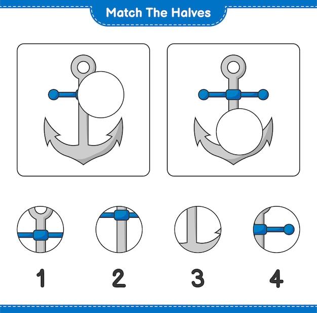 Verbinde die hälften. match hälften von anker. lernspiel für kinder, arbeitsblatt zum ausdrucken