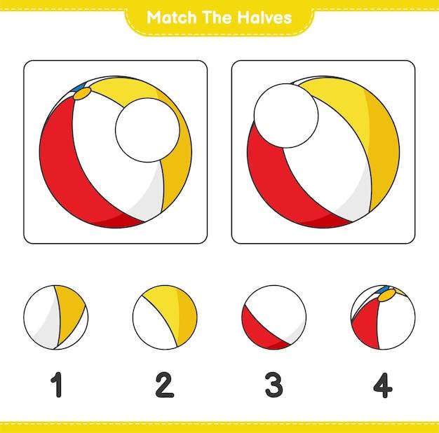 Verbinde die hälften. match hälften von beach ball. lernspiel für kinder, arbeitsblatt zum ausdrucken