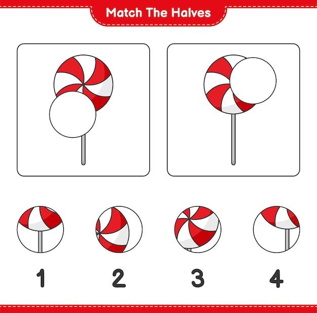 Verbinde die hälften. match hälften von candy. lernspiel für kinder, arbeitsblatt zum ausdrucken