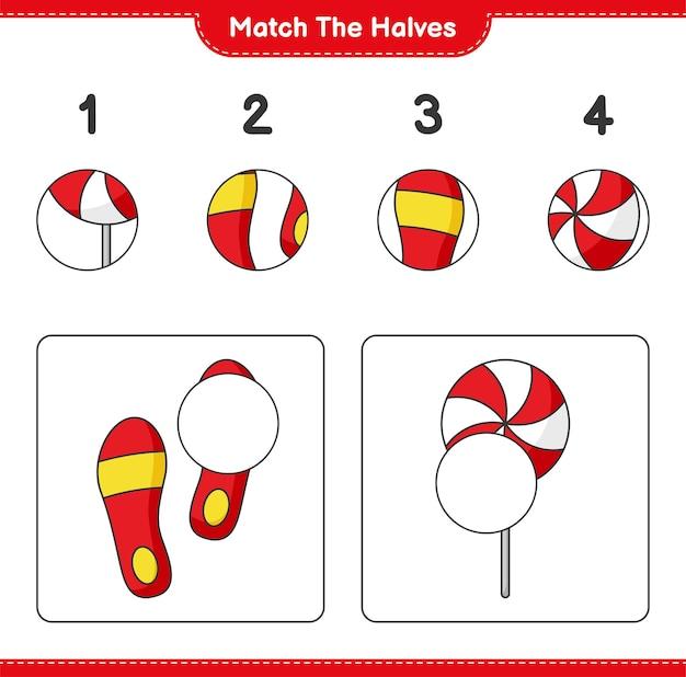 Verbinde die hälften. match hälften von candy und flip flop. pädagogisches kinderspiel, druckbares arbeitsblatt, vektorillustration