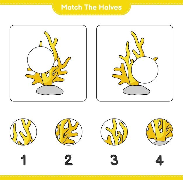 Verbinde die hälften. match hälften von coral. lernspiel für kinder, arbeitsblatt zum ausdrucken