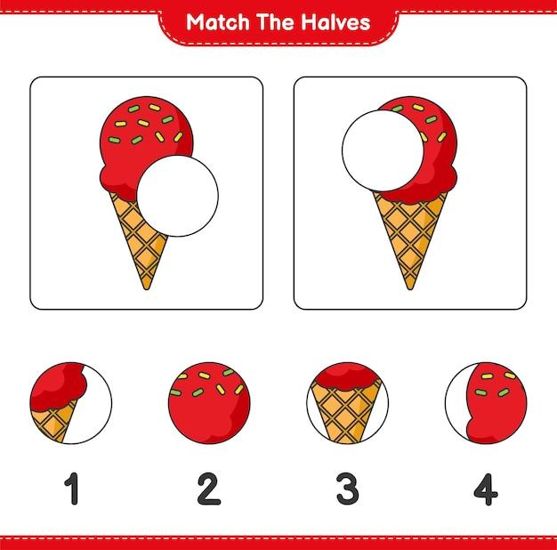 Verbinde die hälften. match hälften von eiscreme. lernspiel für kinder, arbeitsblatt zum ausdrucken