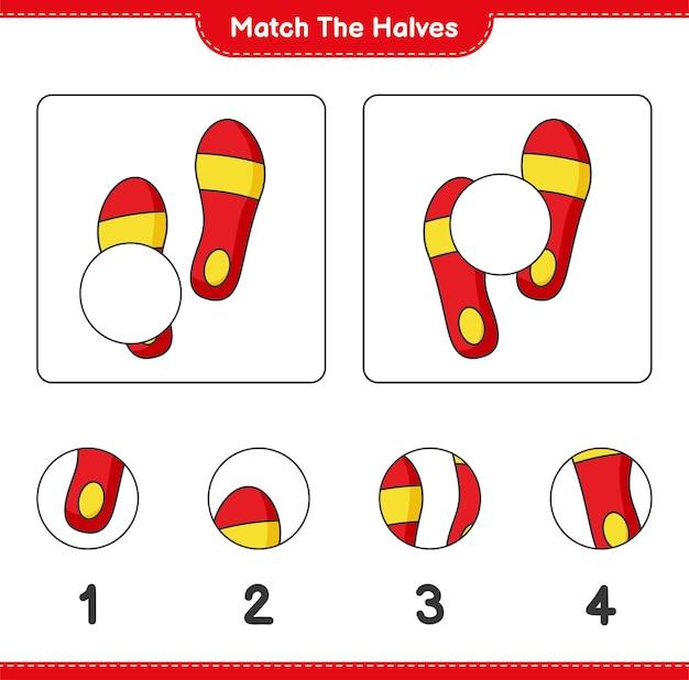 Verbinde die hälften. match hälften von flip flop. lernspiel für kinder, arbeitsblatt zum ausdrucken