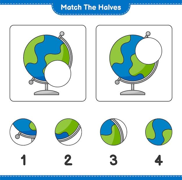Verbinde die hälften. match hälften von globe. lernspiel für kinder, arbeitsblatt zum ausdrucken