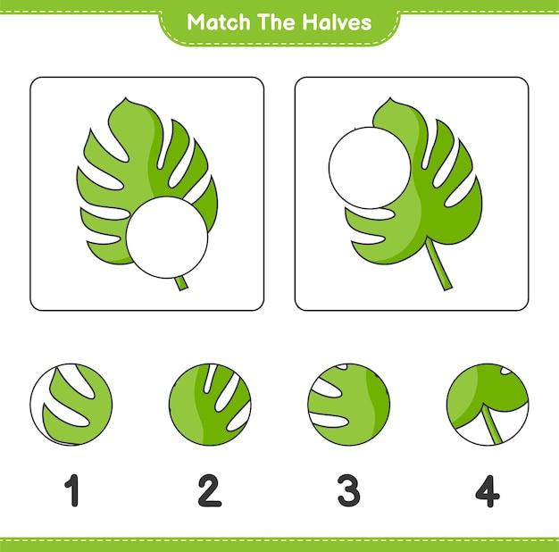 Verbinde die hälften. match-hälften von monstera. lernspiel für kinder, arbeitsblatt zum ausdrucken