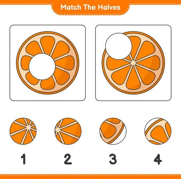Verbinde die hälften. match hälften von orange. lernspiel für kinder, arbeitsblatt zum ausdrucken