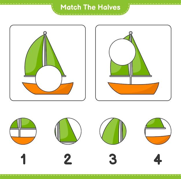 Verbinde die hälften. match hälften von segelboot. pädagogisches kinderspiel, druckbares arbeitsblatt,