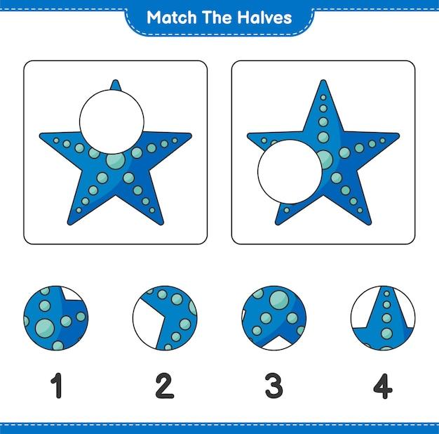 Verbinde die hälften. match hälften von starfish. lernspiel für kinder, arbeitsblatt zum ausdrucken