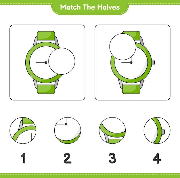 Verbinde die hälften. match hälften von uhren. lernspiel für kinder, arbeitsblatt zum ausdrucken