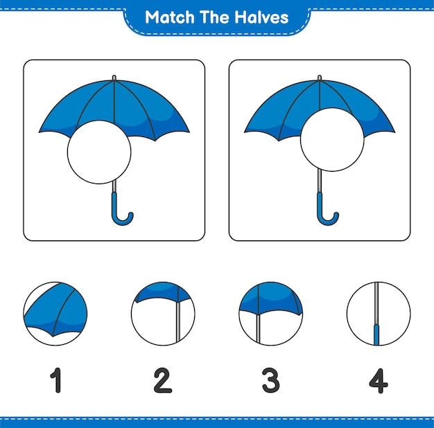 Verbinde die hälften. match hälften von umbrella. lernspiel für kinder, arbeitsblatt zum ausdrucken