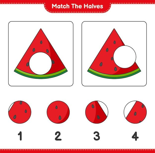 Verbinde die hälften. match hälften von wassermelone. lernspiel für kinder, arbeitsblatt zum ausdrucken