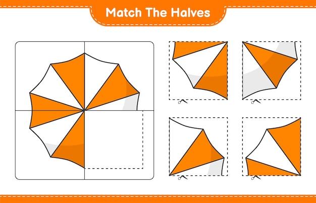 Verbinde die hälften. matchhälften des sonnenschirms. pädagogisches kinderspiel, druckbares arbeitsblatt