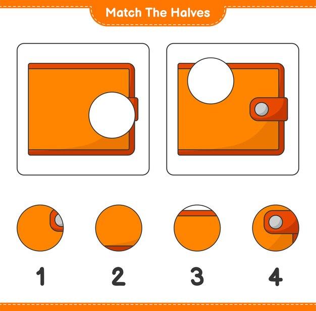 Verbinde die hälften. passen sie die hälften der brieftasche an. lernspiel für kinder, arbeitsblatt zum ausdrucken